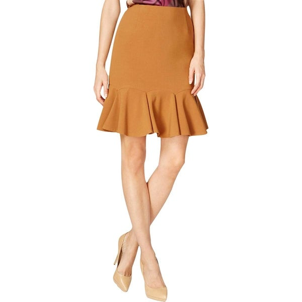 Nine West Womens Berry Harvest Flounce Skirt Pleated Knee-Length