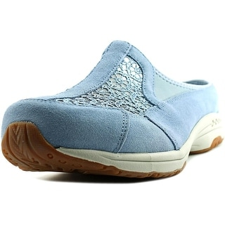 Easy Spirit Travel Lace Women WW Round Toe Suede Blue Mules