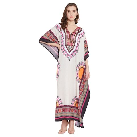 Womens Swim Cover Ups Dress Polyester Digital Print Caftan Full Length Maxi with Sleeve Night Gowns and Robes for Ladies Girls