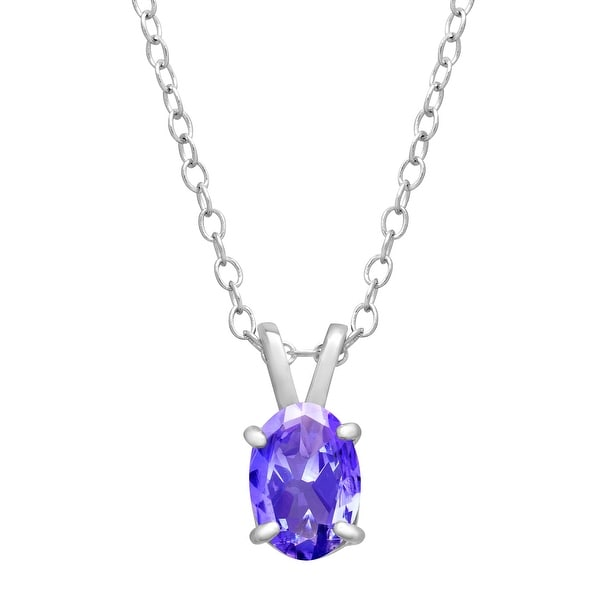 7/8 ct Oval-Cut Natural Tanzanite Pendant in Sterling Silver