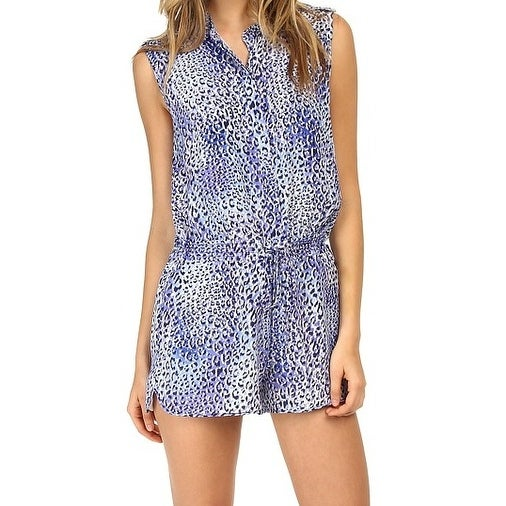 900ef6409ab Shop Rebecca Taylor NEW Blue Women s Size 0 Leopard Print Romper Silk -  Free Shipping Today - Overstock - 20224127