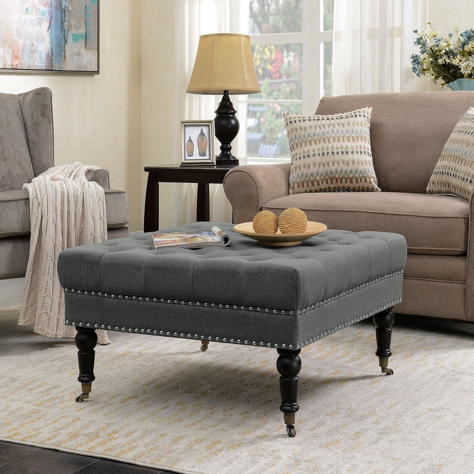 Rolling Ottoman Coffee Table.Belleze Button Tufted Linen Fabric Ottoman Bench Foot Stool With Rolling Wheels Large Nailhead Trim Charcoal