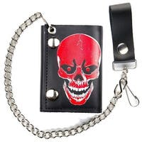 Large Red Skull Head Trifold Biker Wallet W Chain Mens Leather #563