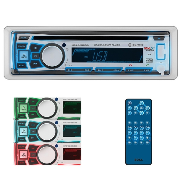 Boss Single din Marine Bluetooth/MP3/CD/CDRW/AM/FM front aux input wireless remote