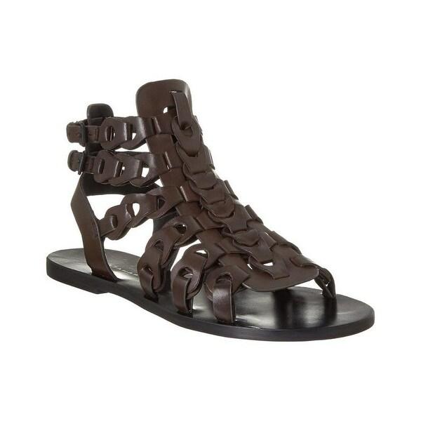 Elie Tahari Artisan Brown Leather Sandals