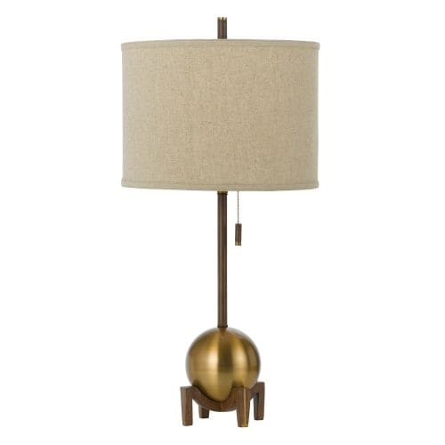 "AF Lighting 8251-TL Horizon Series ""Gravity"" Table Lamp with Dark Taupe Poly Linen Shade and On/Off Pullchain Switch, Finished"
