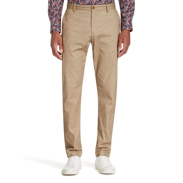 Tallia Men's Pants Brown Size 40 Straight Leg Houndstooth Stretch. Opens flyout.
