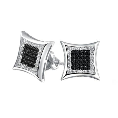 Black White Square Shaped Cubic Zirconia Micro Pave CZ Kite Stud Earrings For Men 925 Sterling Silver 12MM