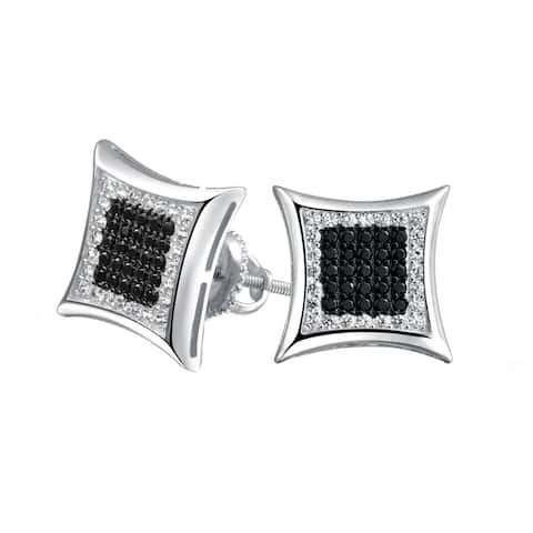 fe7b77f50 Black White Square Shaped Cubic Zirconia Micro Pave CZ Kite Stud Earrings  For Men 925 Sterling