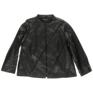 Lafayette 148 Womens Leather Seamed Jacket