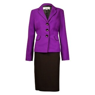 Le Suit Women's Monte Carlo Contrast-Trim Pocket Skirt Suit - amethyst