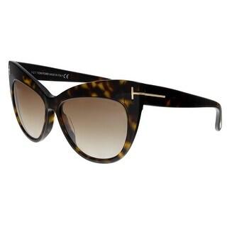 Tom Ford FT0523 52G Nika Dark Havana Cat Eye Sunglasses - no size