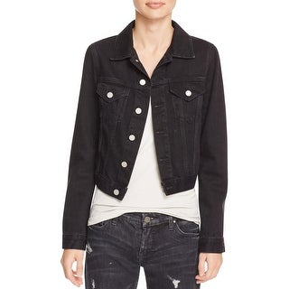 French Connection Womens Denim Jacket Micro Western Long Sleeves