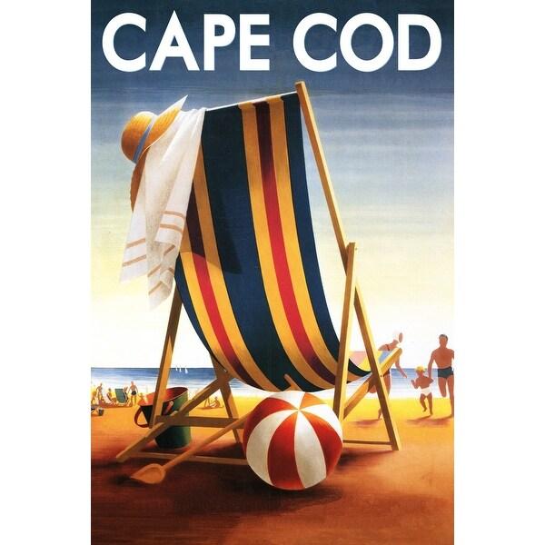 Cape Cod, MA - Beach Chair and Ball - LP Artwork (Art Print - Multiple Sizes)