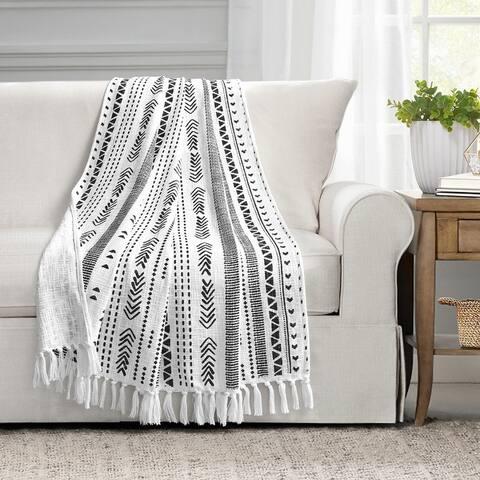 Lush Decor Hygge Stripe Cotton Slub Tassel Fringe Throw Blanket
