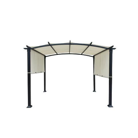 10'x8' Pergola Gazebo Canopy Outdoor Patio Garden Steel Frame Sun Shelter with Retractable Canopy Shades