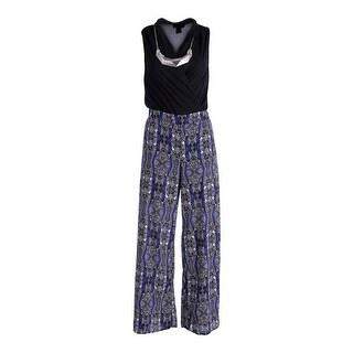 Material Girl Womens Chiffon Printed Jumpsuit