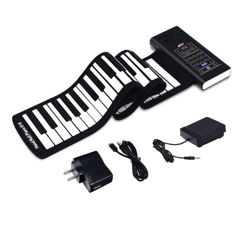 61 Key Electronic Roll up Silicone Rechargeable Piano Keyboard-Black
