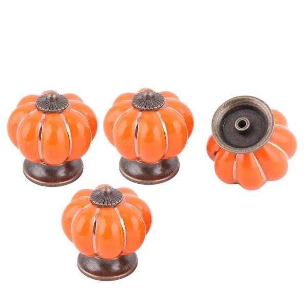 Unique Bargains Family Ceramic Pumpkin Shaped Furniture Door Drawer Pull Handle Orange 4 Pcs