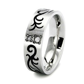 Stainless Steel Women's Wedding Band with CZ