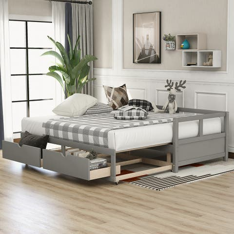Daybed with Trundle Bed and Two Storage Drawers, Extendable Bed Daybed