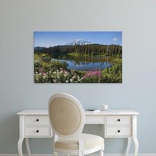Easy Art Prints Panoramic Image 'Mt Rainier, Reflection Lake, Mt Rainier National Park, Washington' Canvas Art