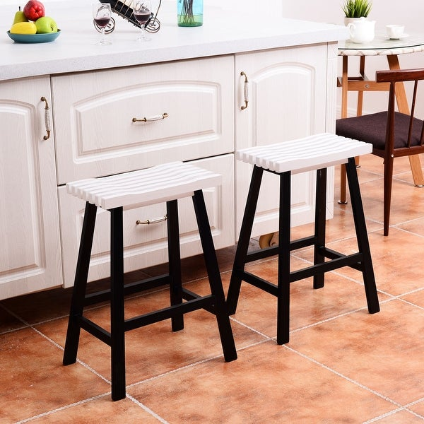 Shop Costway Set Of 2 Saddle Seat 24 Bar Stools Wood