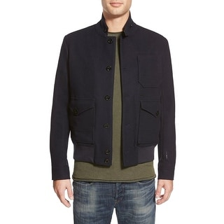 G-Raw NEW Solid Navy Blue Mens Size XL Wool Full-Zip Bomber Jacket