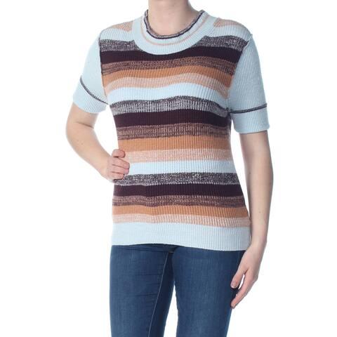FREE PEOPLE Womens Light Blue Striped Short Sleeve Sweater Size XS