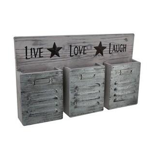 Shabby Finish Live Love Laugh 3 Pocket Wall Organizer