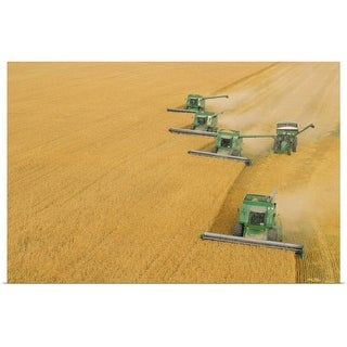 """""""Combines harvesting wheat"""" Poster Print"""