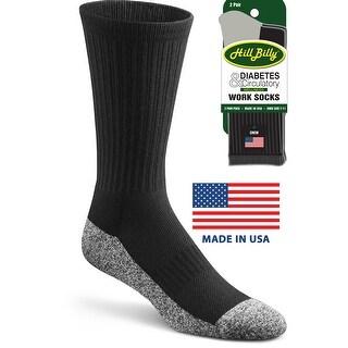 Men's Diabetes Circulatory Wellness Work Socks HillBilly Brand, Made USA, 2 Pair