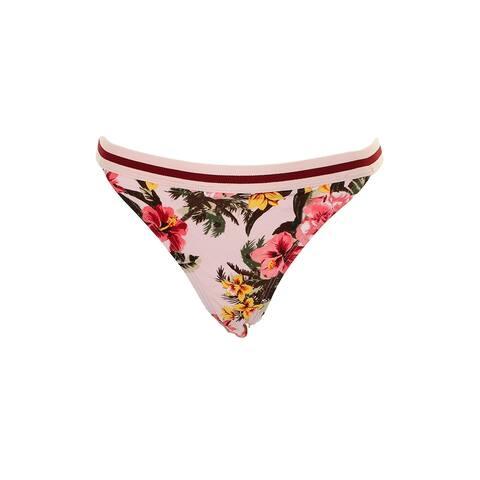 Hula Honey Juniors Pink Multi Bloom Garden Printed Hipster Bikini Bottom XL