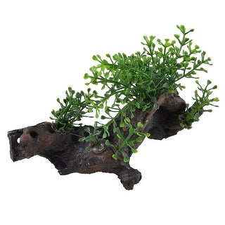 "Unique Bargains Decorative Fish Tank Resin Base Green Water Leaves Plants Decor 3.5"" High"