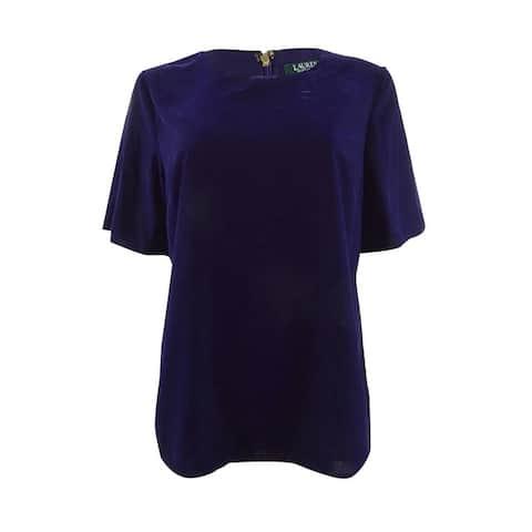 Lauren by Ralph Lauren Women's Velvet Flutter-Sleeve Top - Purple