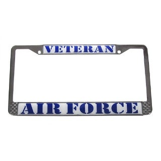 Air Force Veteran License Plate Chrome Metal Tag Frame