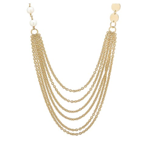 """Bronzoro 18 k Gold Overlay 28"""" Double Strand Pearls & Disc Necklace"""