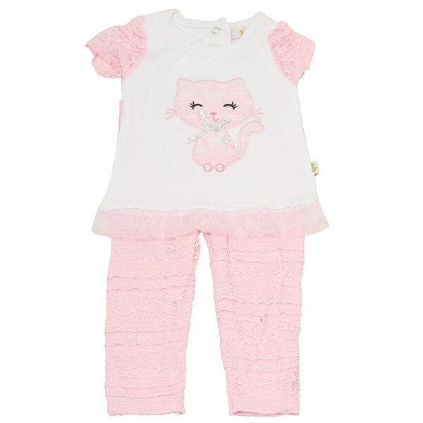 Duck Duck Goose Baby Girls Pink Cat Applique Lace 2 Pc Pant Outfit