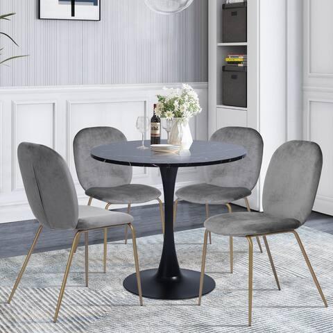 Furniture R 5-Piece Modern Round Dining Set with Golden Leg Chairs