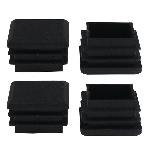 4pcs 25 x 25mm Plastic Square Ribbed Tube Inserts End Cover Cap