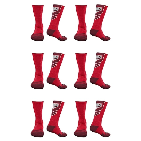 Shop Evoshield Performance Crew Socks Red With Red Medium 6 Pack