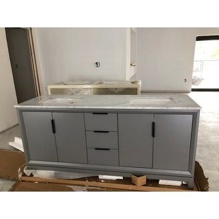 Shop Elizabeth 72 Inch Double Sink Carrara White Marble Vanity Free Shipping Today Overstock