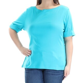 Womens Teal Short Sleeve Boat Neck Top Size XL