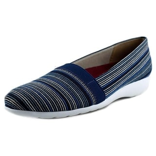 Munro American Bonita Women N/S Open Toe Canvas Blue Wedge Heel