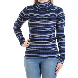 PLANET GOLD $19 Womens New 1600 Blue Striped Long Sleeve Top S Juniors B+B