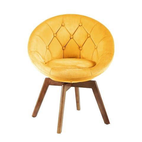 Carson Carrington Kallax Velvet or PU Tufted Round Swivel Accent Chair