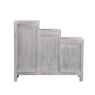 "41"" Distressed Light Gray Sunset Trading Three-Tiered Shutter Cabinet"
