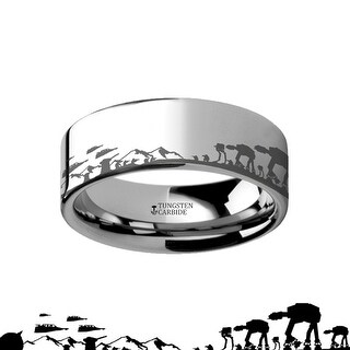 Hoth Battle Star Wars Alliance Galactic Imperial Invasion ATAT ATST Tungsten Engraved Ring by Thorsten Rings - 8mm