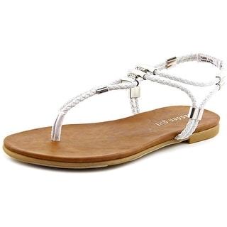 Madden Girl Flexii Women Open Toe Canvas White Thong Sandal