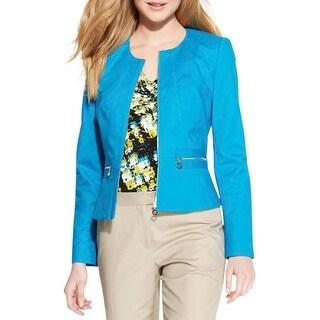 Calvin Klein Womens Petites Crop Blazer Lined Zipper